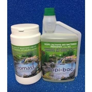 PACK Bactéries démarrage filtration DOPIBAC 1L + 250ML/ BIOMASS 500 GR (50 M3)