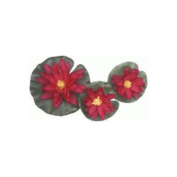 Nénuphar rouge 3 fleurs